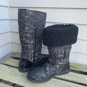 COACH Black Lurex Shearling Lined Nikole Boot